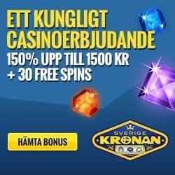 SverigeKronan (nätet kasino) - 30 free spins + 150% gratis bonus