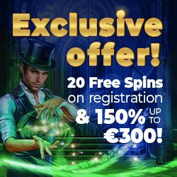 20 free spins on registration!