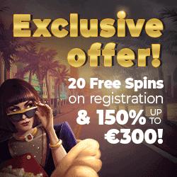 150% bonus and 20 gratis spins