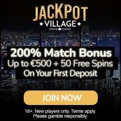 Jackpot Village 100 free spins + 275% up to €1800 bonus
