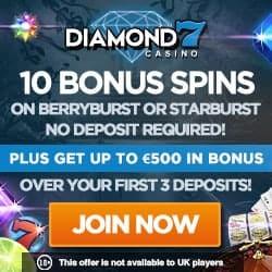 Diamond 7 Casino 10 gratis spins + €500 deposit bonus + 50 free spins