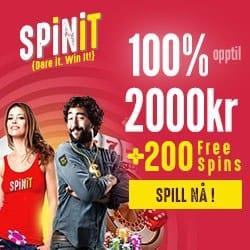 Spinit.com Casino (Sverige) 100% välkomstbonus upp till 2000 kr