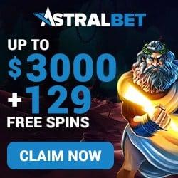 AstralBet Casino 129 gratis spins and $/€ 3000 free bonus credits