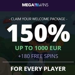 Mega Wins Bitcoin Casino: 180 free spins & €1,000 (or 1 BTC) bonus