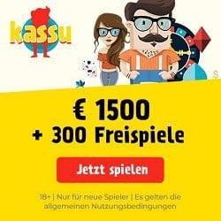 Kassu Casino 300 Freispiele und 1500€ Willkommensbonus