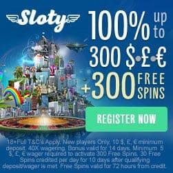 Sloty.com Online Casino - £1,500 gratis & 300 free spins bonus