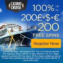 Casino Cruise €1,000 FREE (200% bonus) + 200 free spins gratis