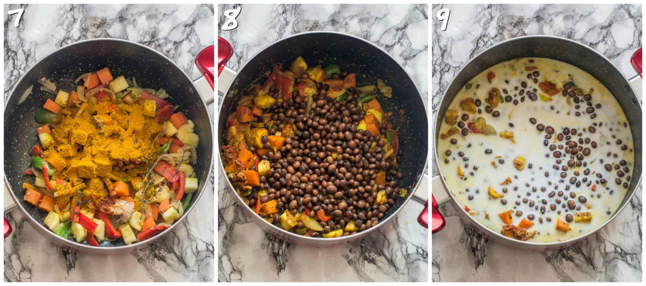 steps 7-9 adding peas and coconut milk