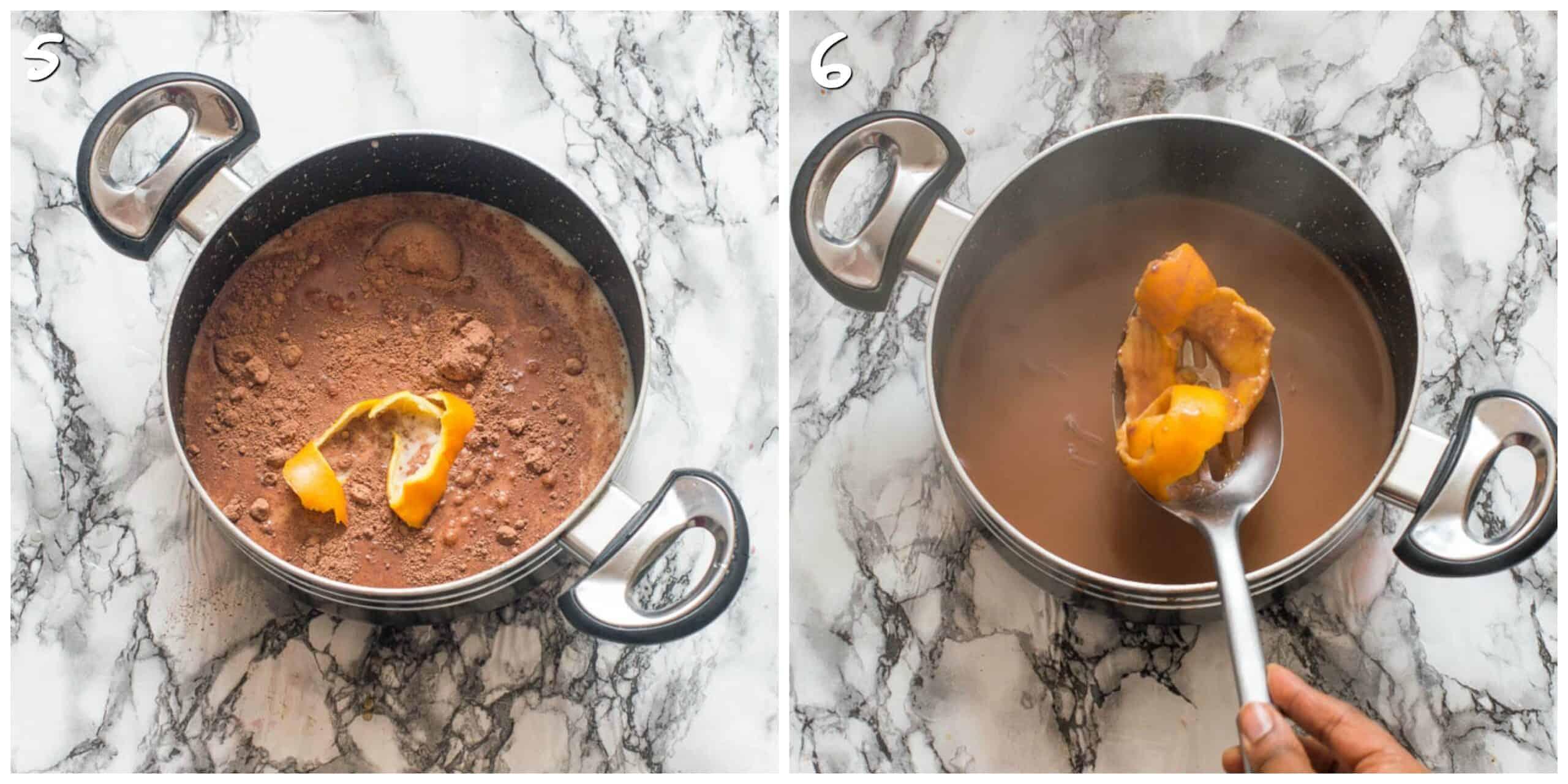 steps 5-6 adding and removing orange peel