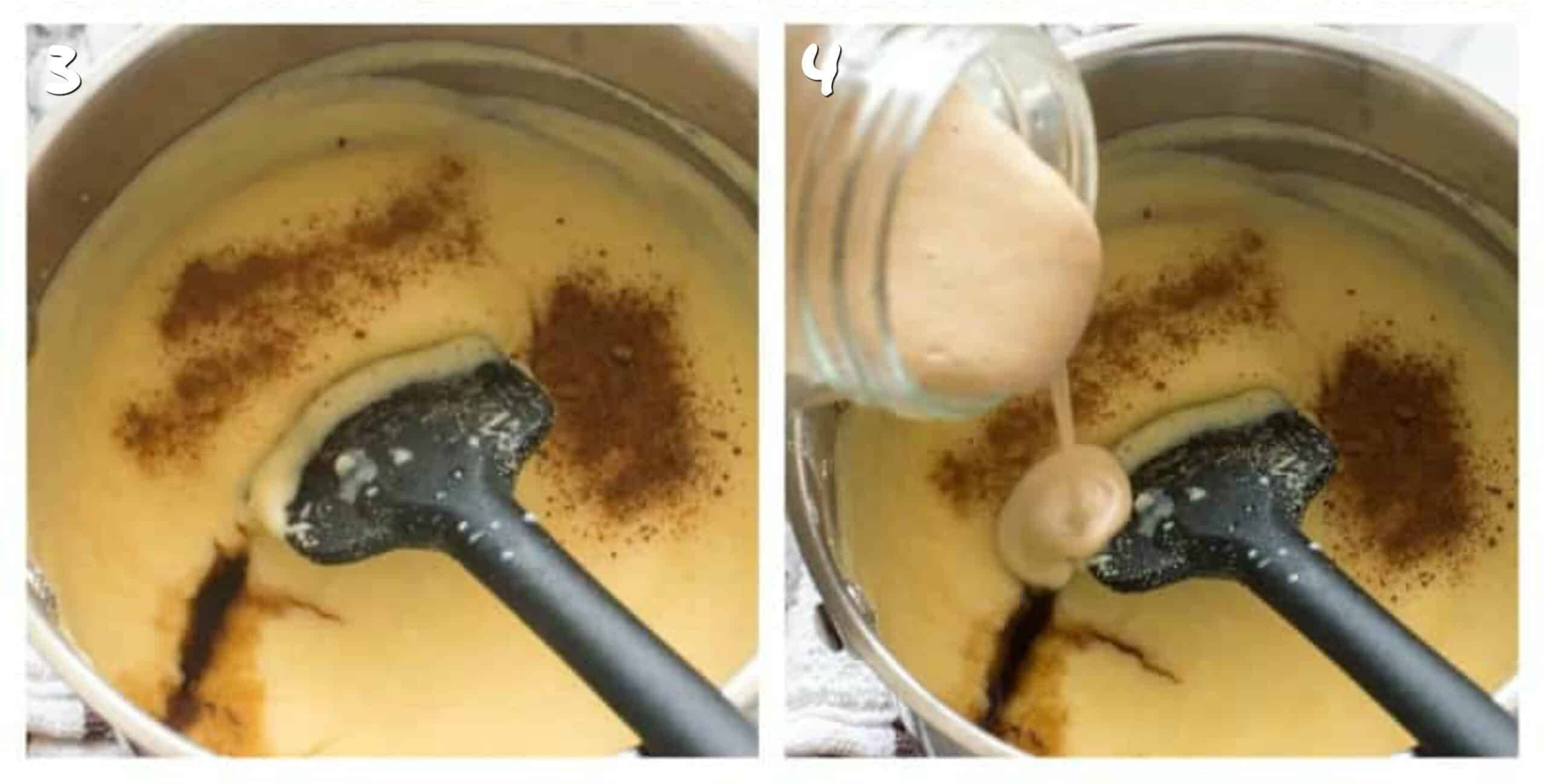 steps 3-4 adding condensed milk to the cornmeal
