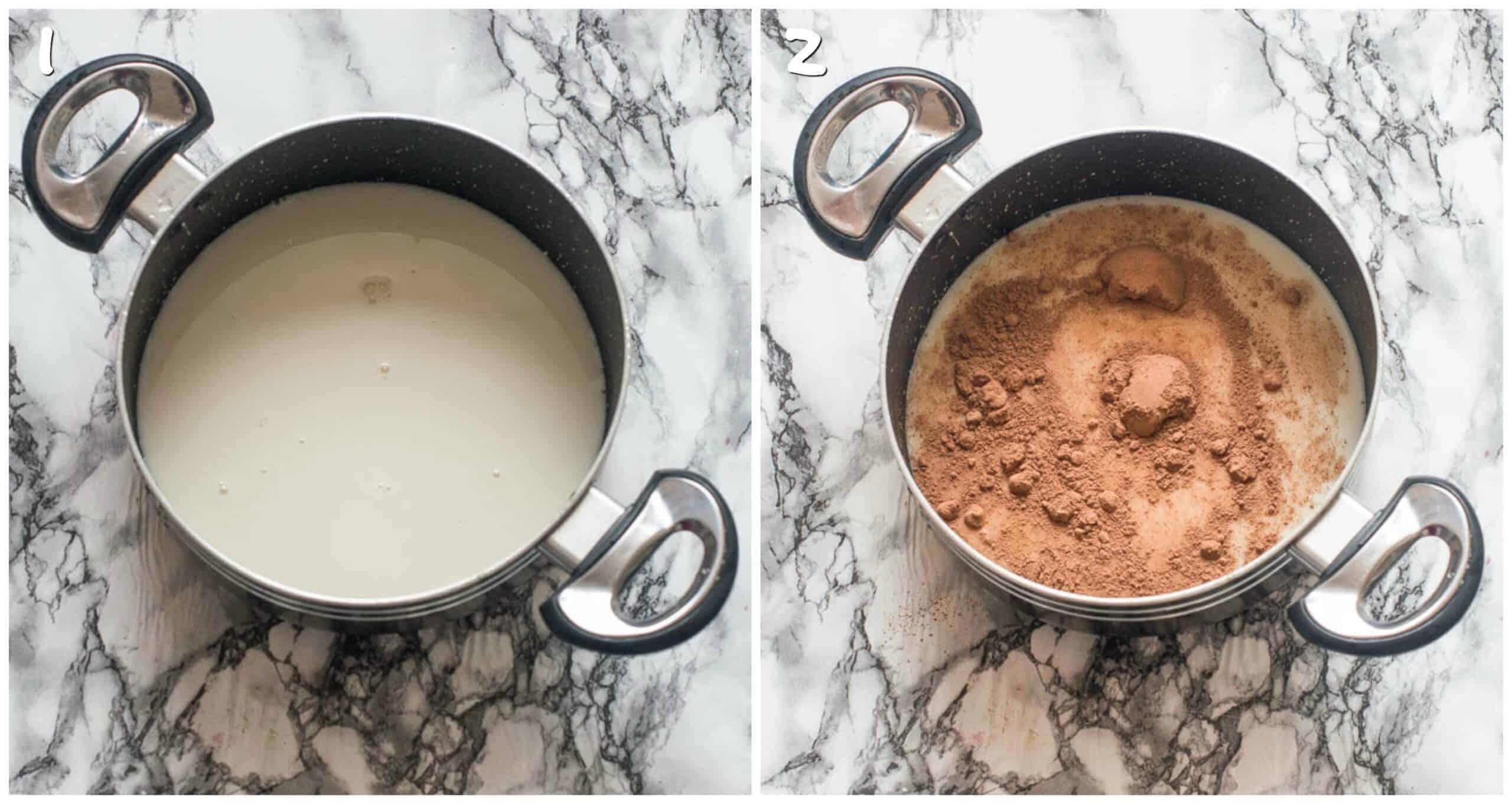 Steps 1-2 almond milk with cacao powder