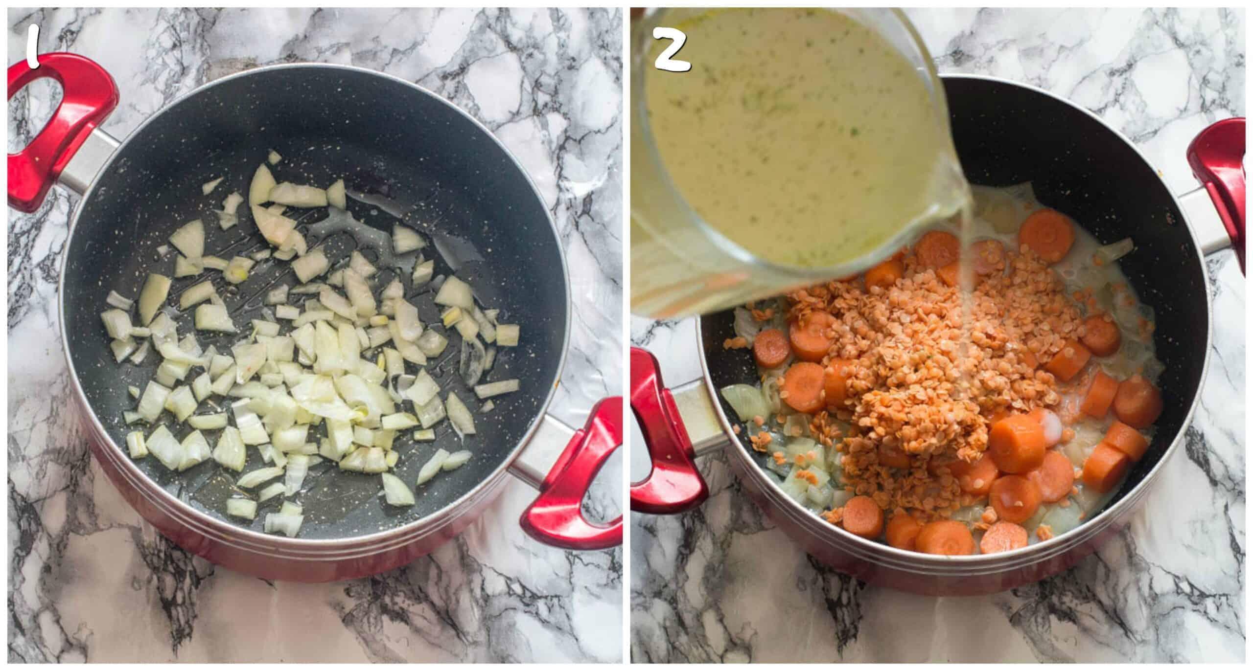 steps 1-2 saute onions and adding stock to saucepan
