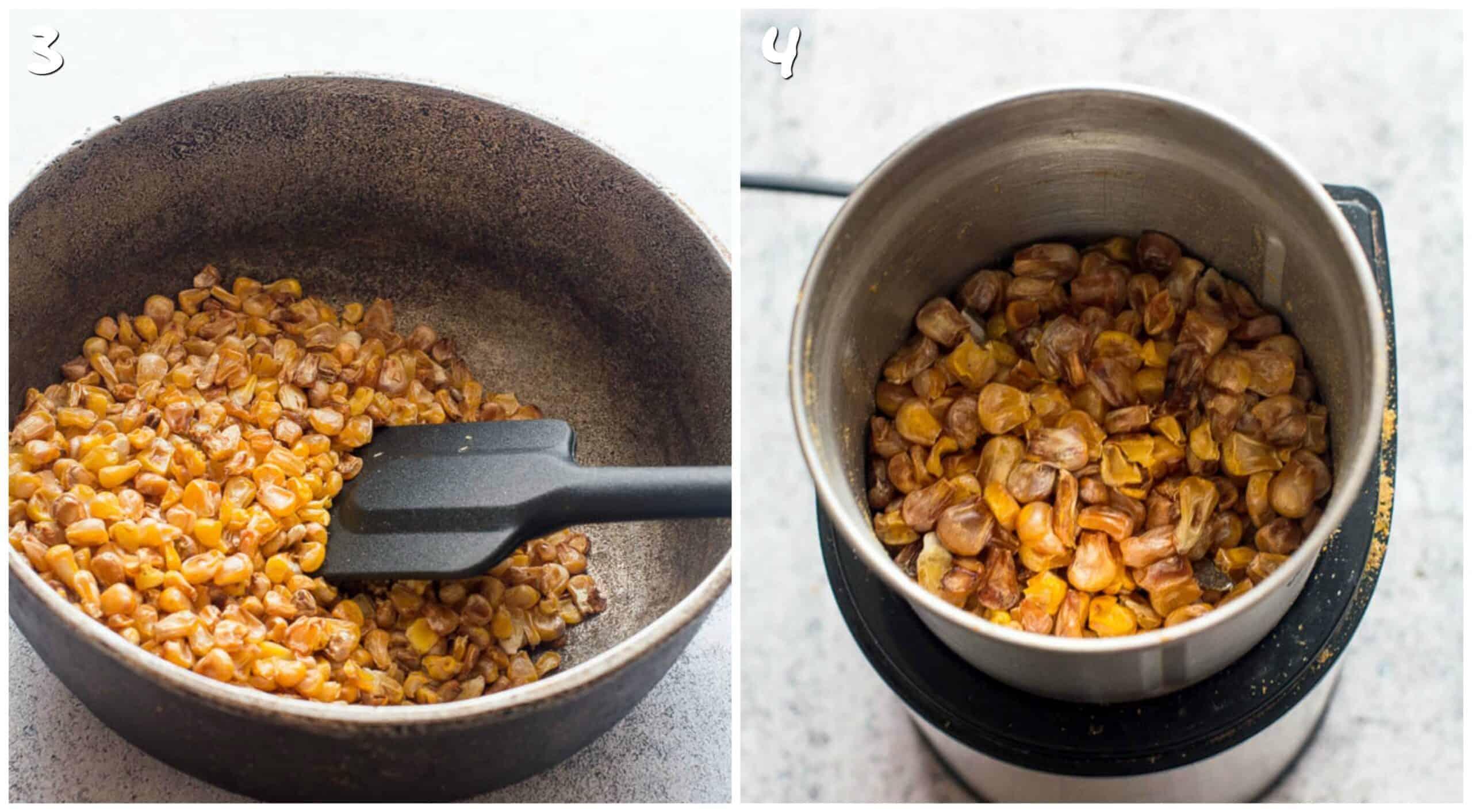 steps 3-4 parched corn