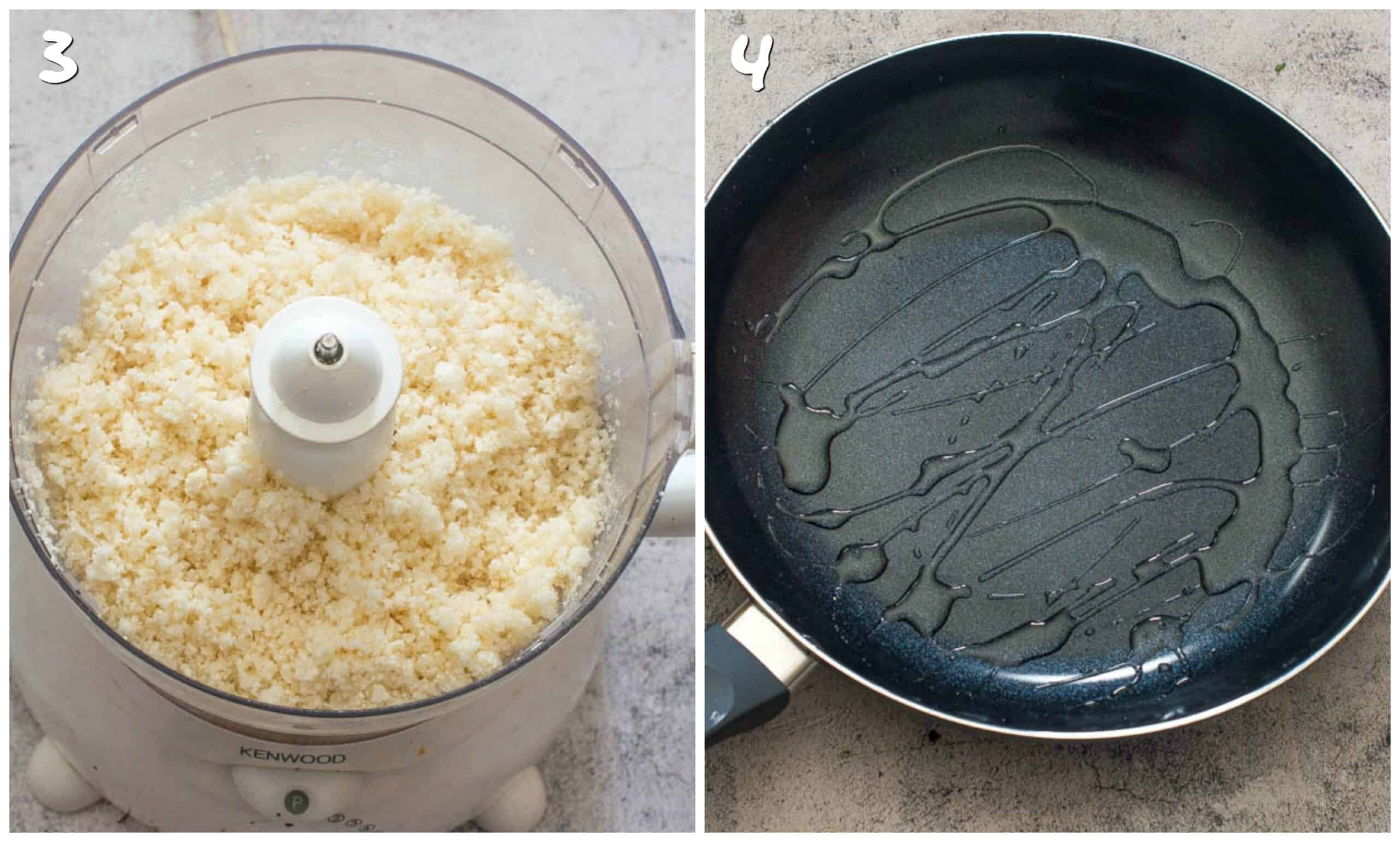 Steps 3-4 pulsing the rice and heating the skillet