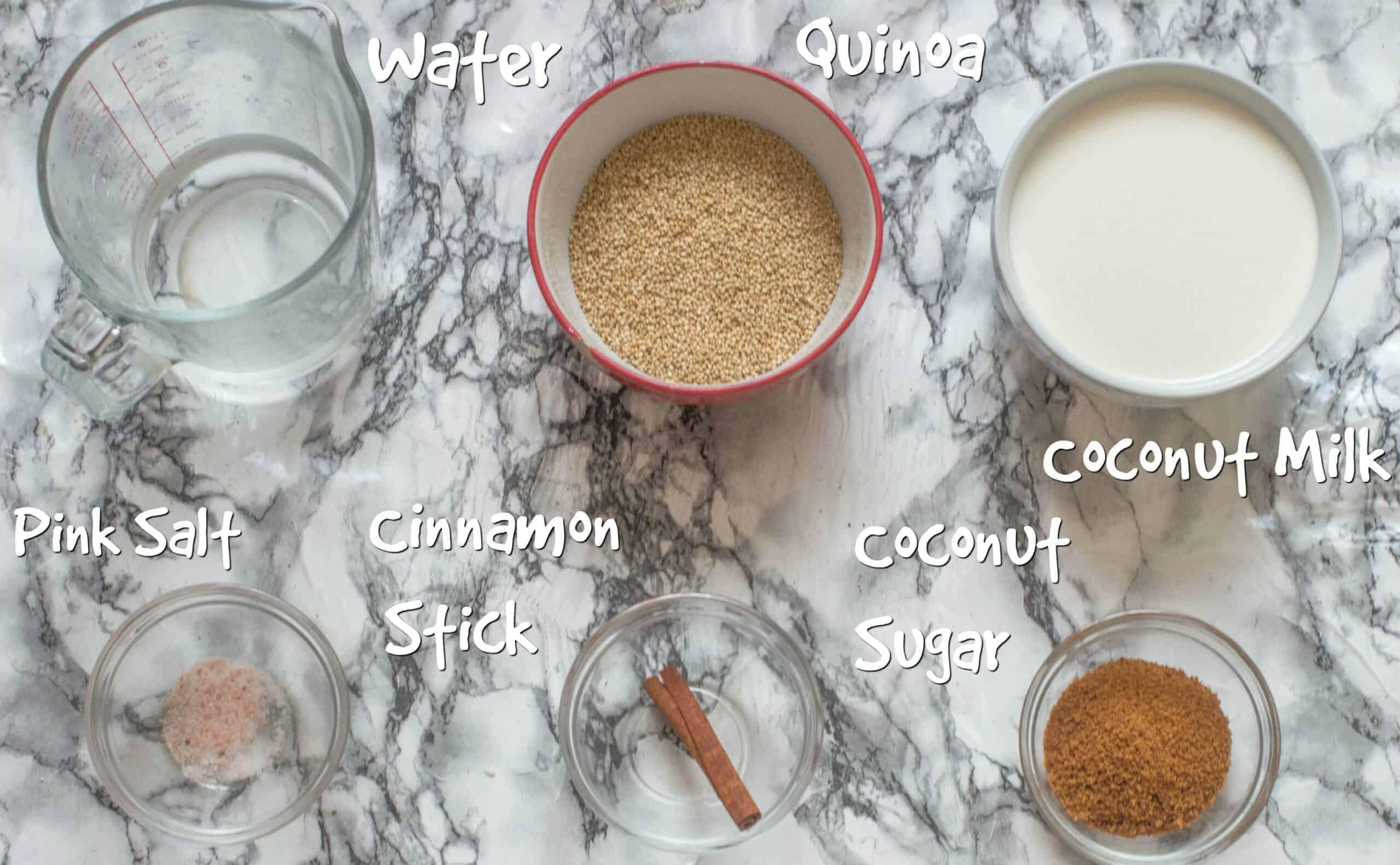 ingredients to make quinoa pudding