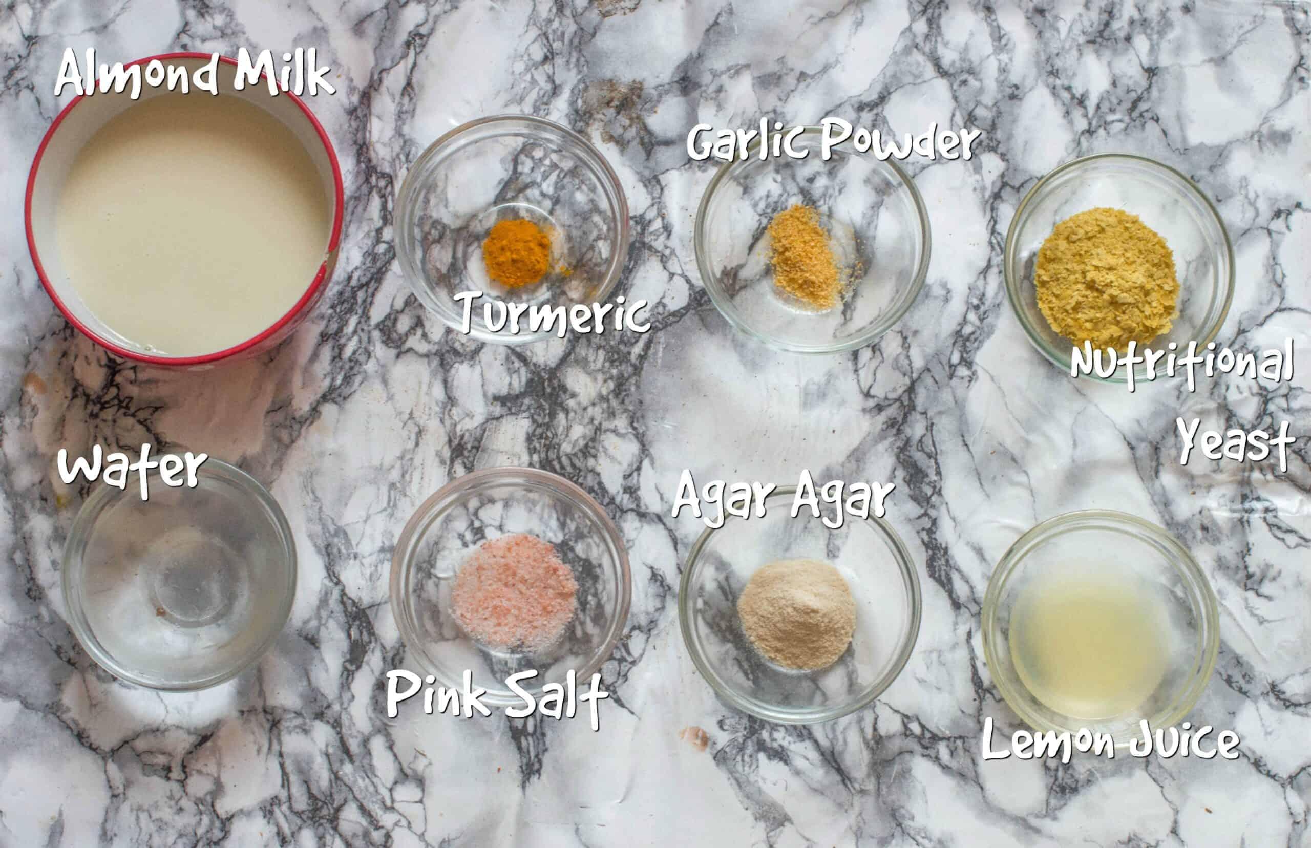ingredients to make homemade vegan cheddar cheese