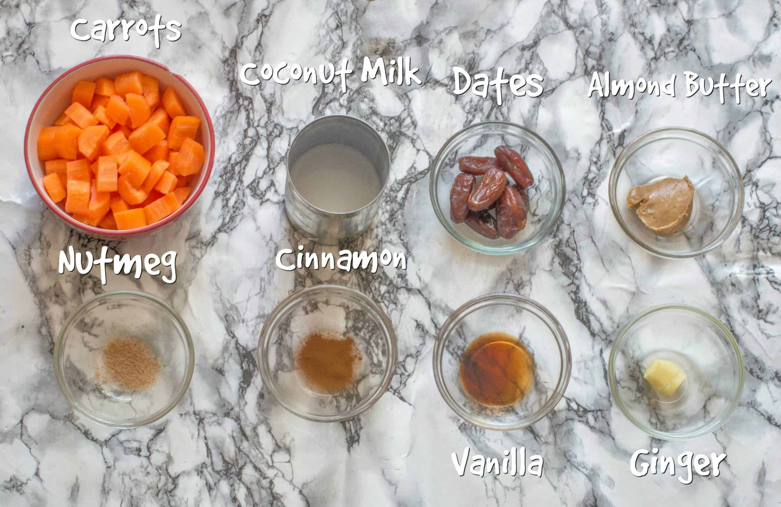 ingredients for carrot pudding