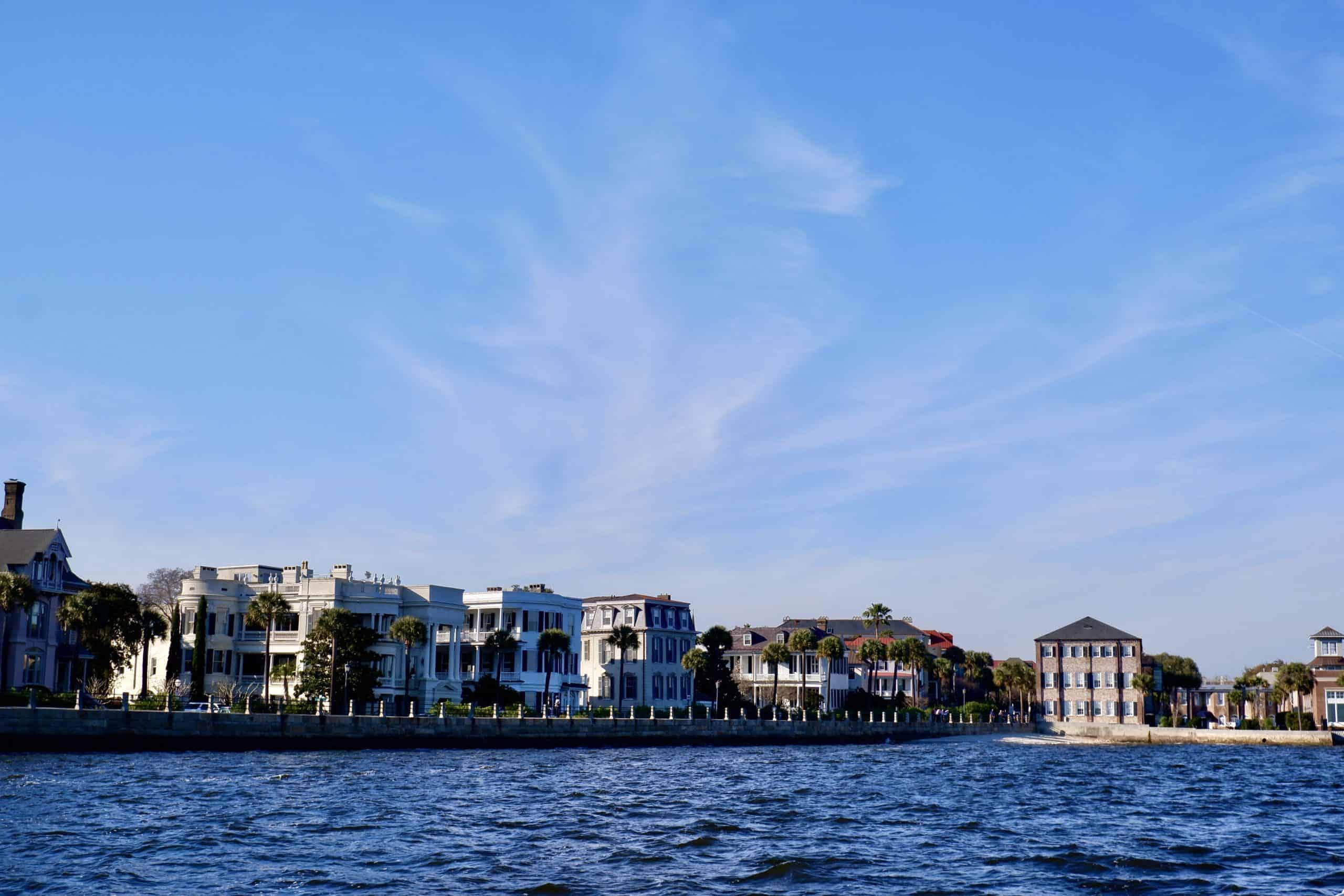 View of The Battery from the water. Family boat charters Charleston, SC