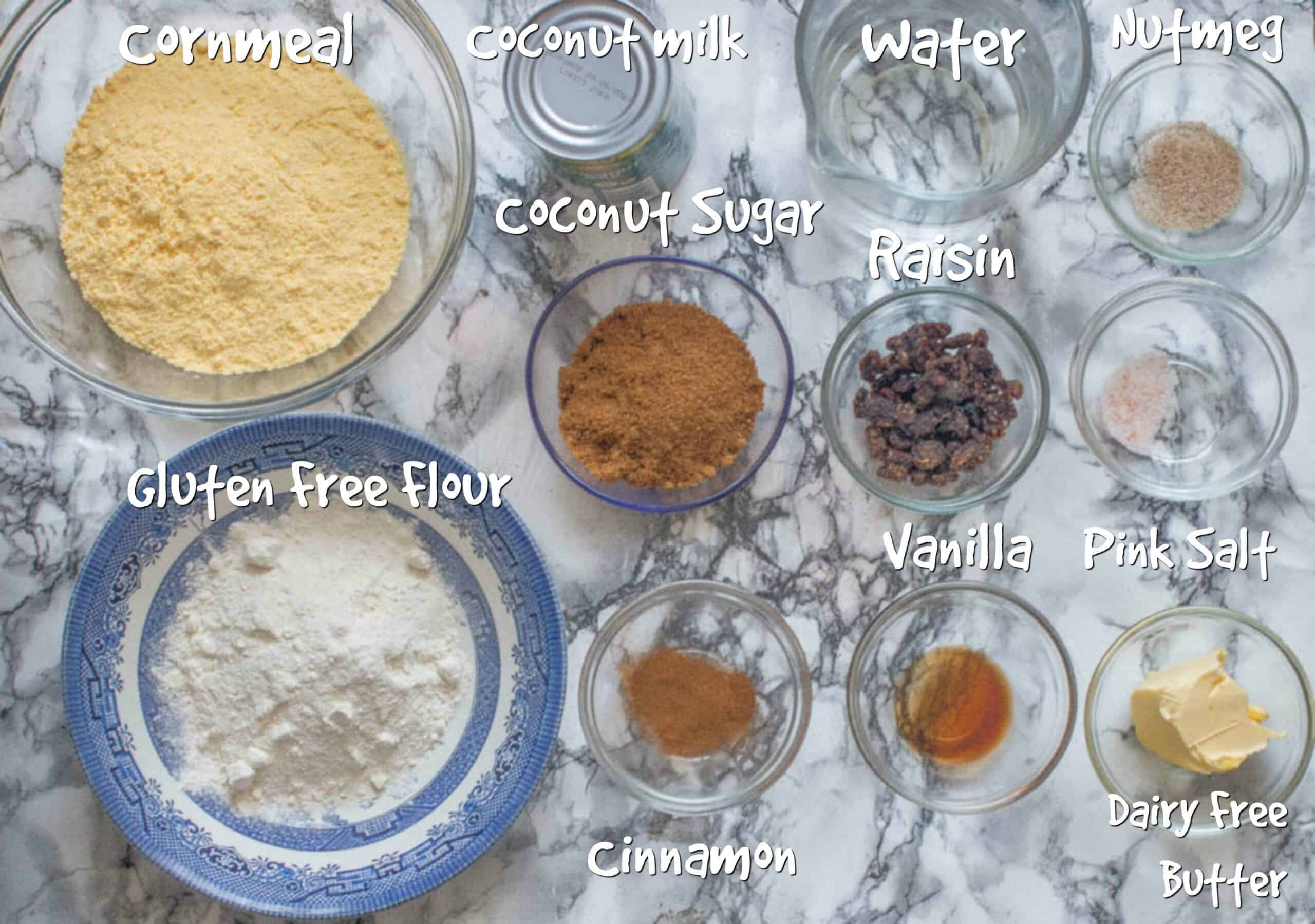ingredients for the cornmeal pudding