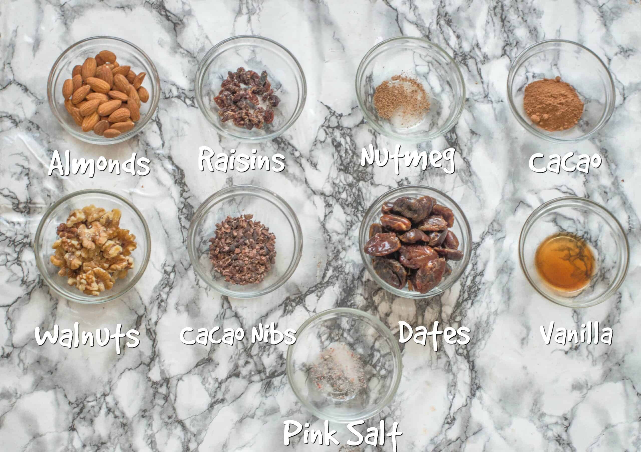 ingredients for raw cacao energy balls
