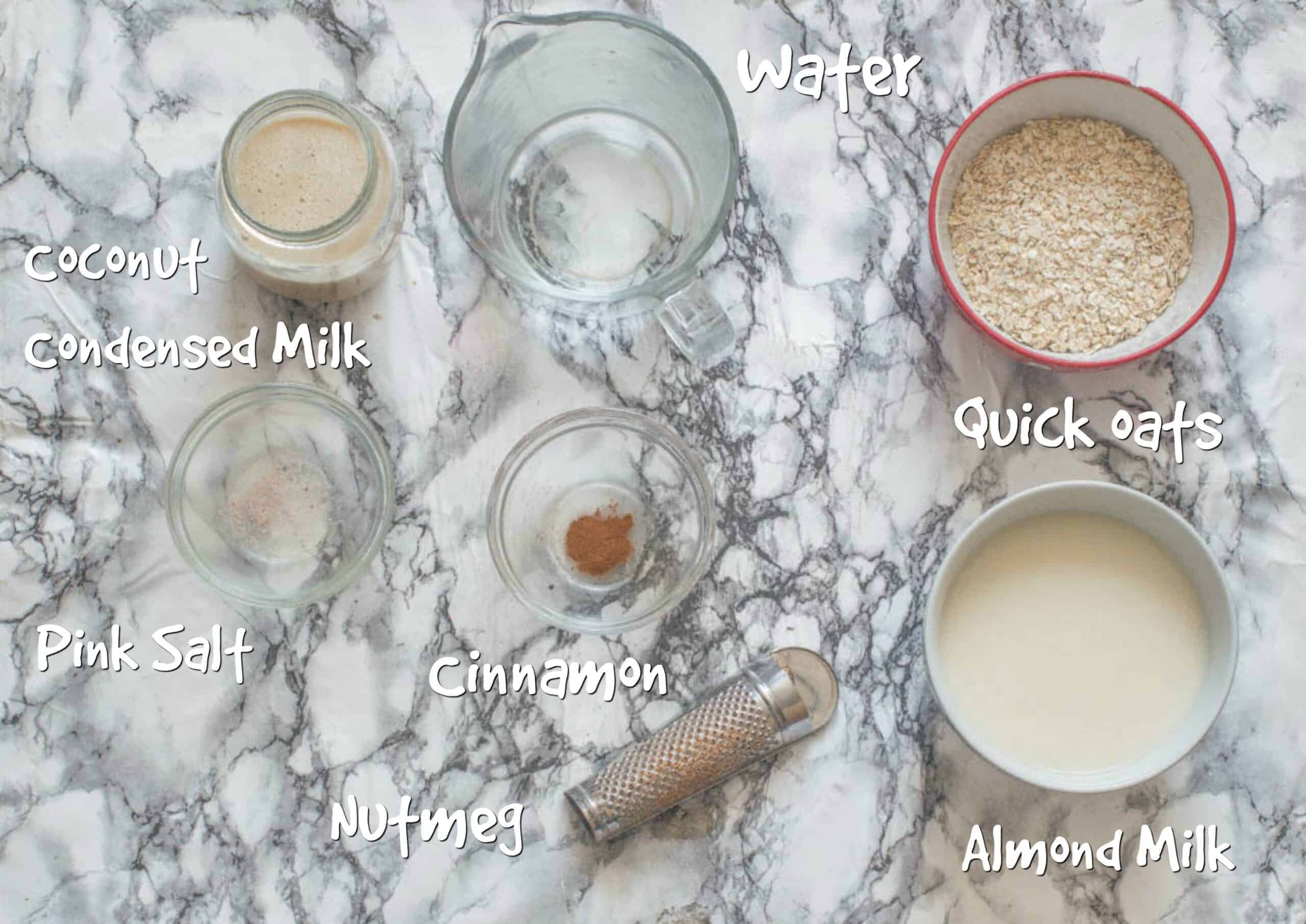 ingredients for jamaican oats porridge