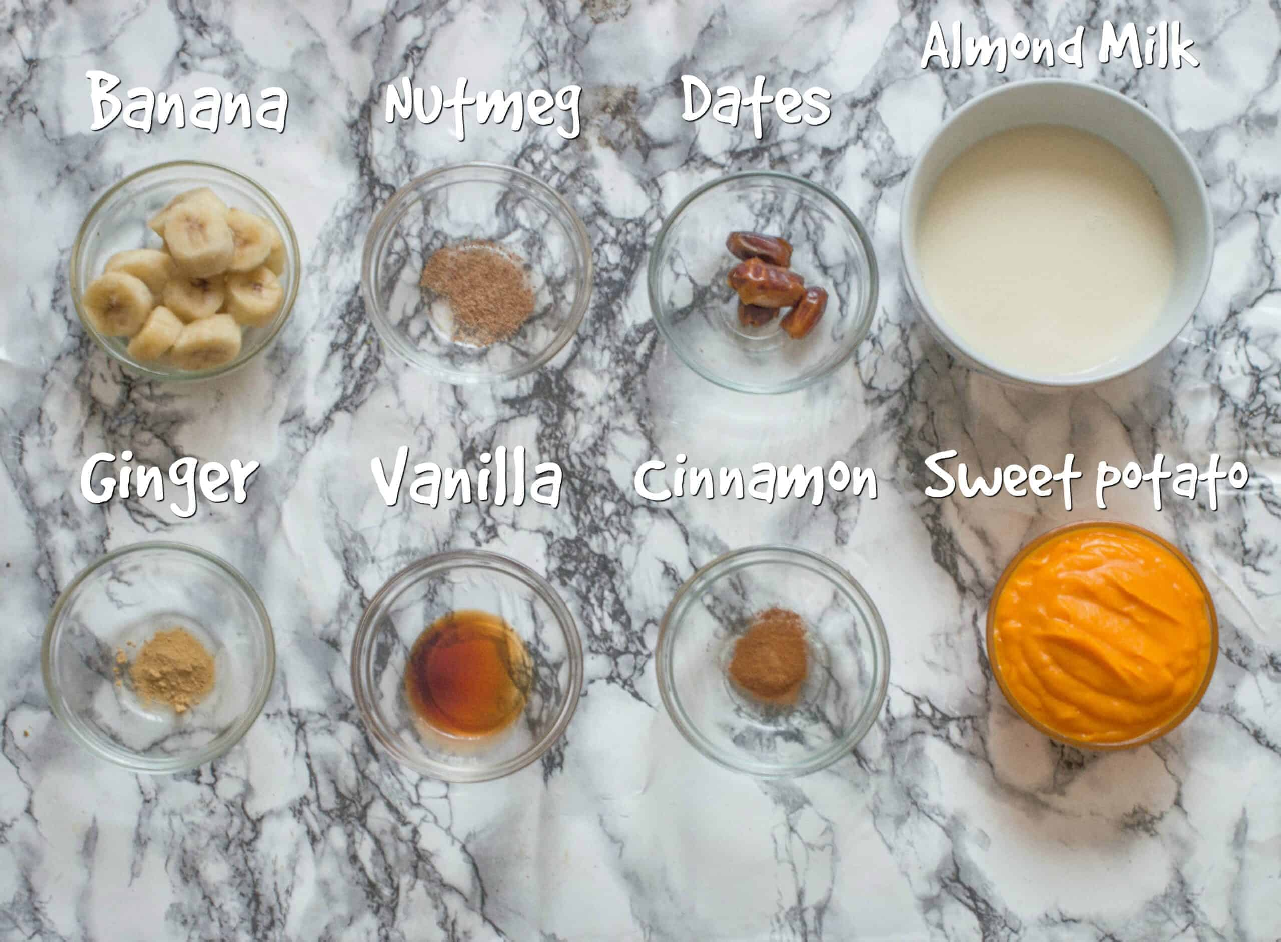 ingredients for the sweet potato smoothie