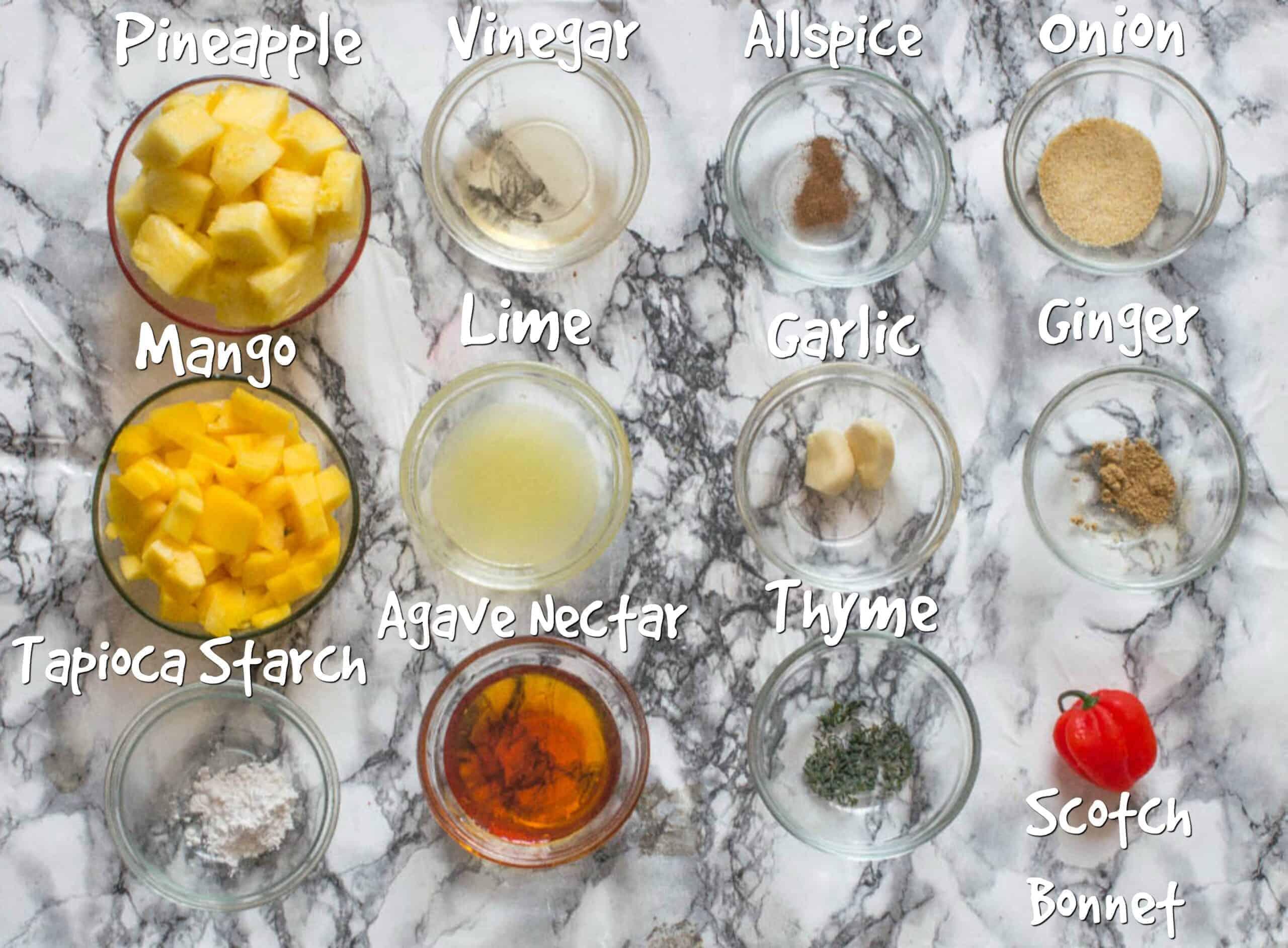 ingredients for mango pineapple hot sauce