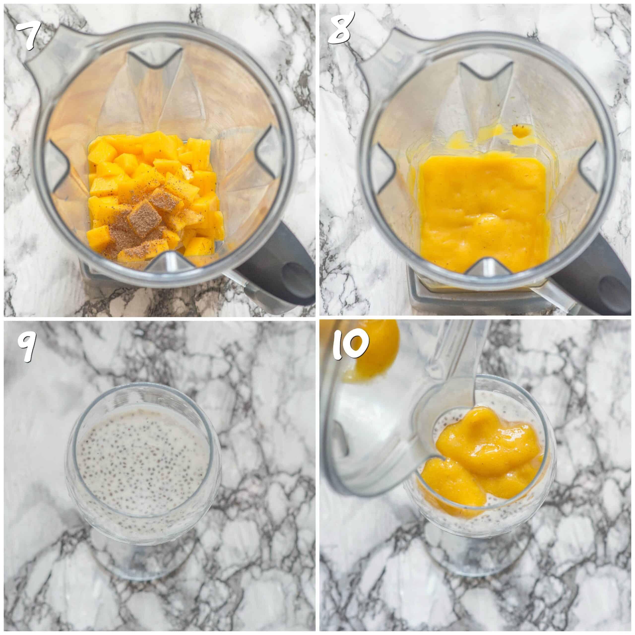 steps 7-10 preparing the mango puree