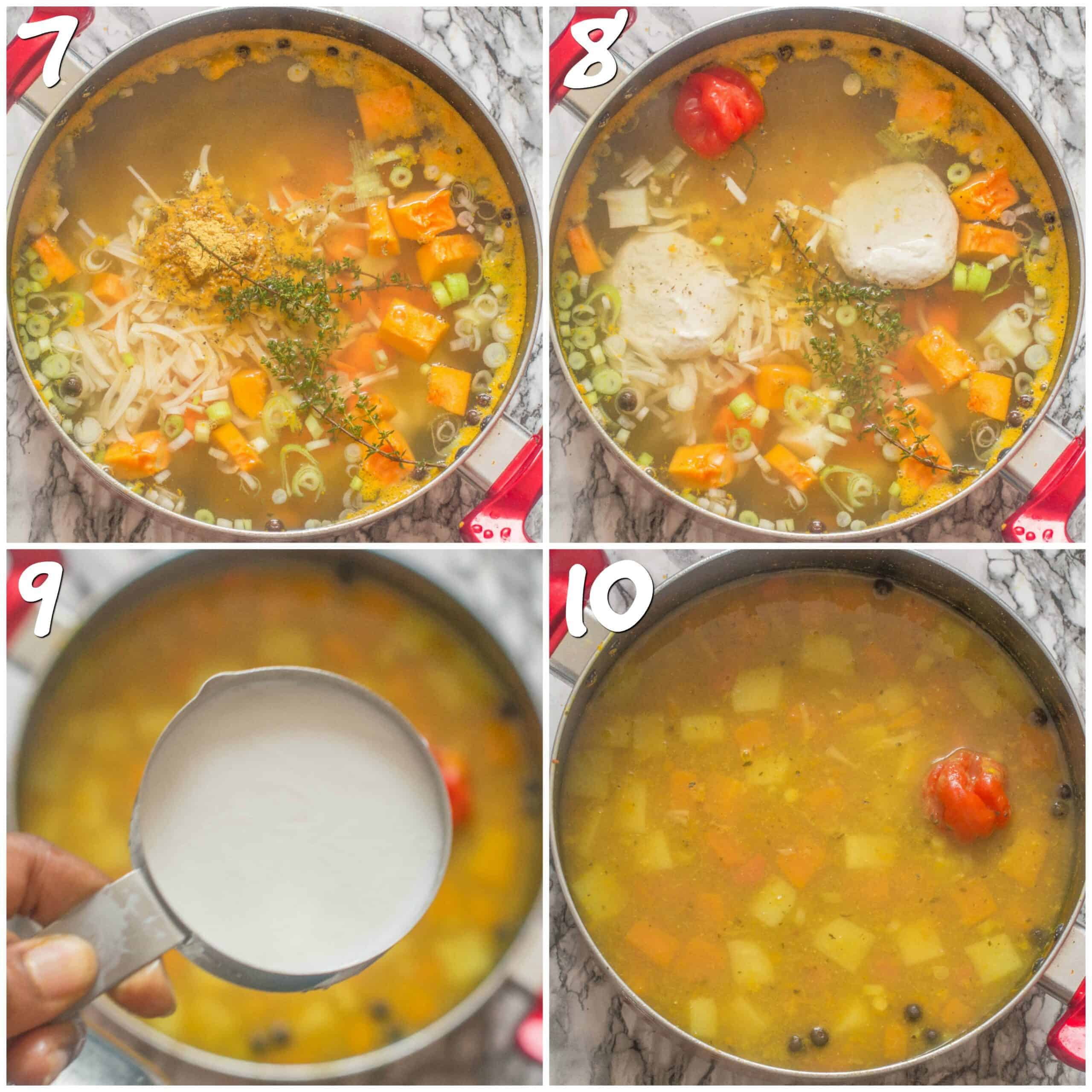 steps 7-10 adding vegetables to the soup