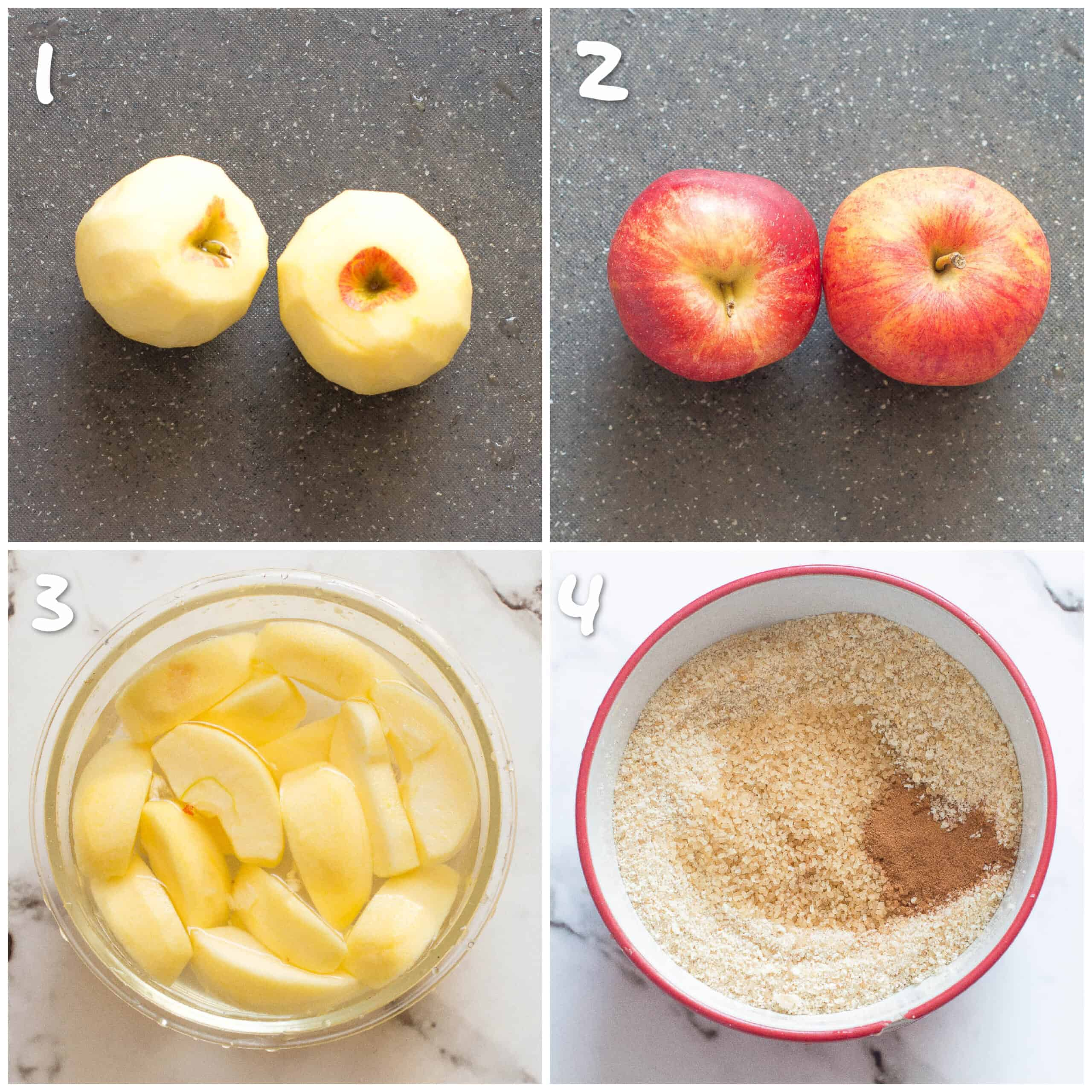 peeling the apples and preparing the coating