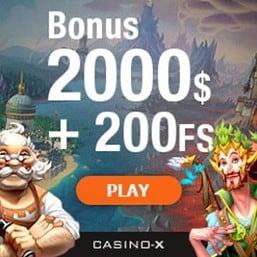 CASINO X # 200 free spins and 100% up to $2000 free bonus