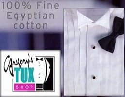 Tuxedo Shirt WHITE WING Collar All Cotton Tuxedo Shirt