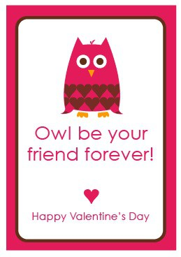 Cute Valentines Day Free Printables for kids! Owl Valentine Card Free Printable by Amy Locurto
