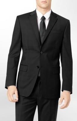 Mens Black Classic Pin Stripe Two Button Suit