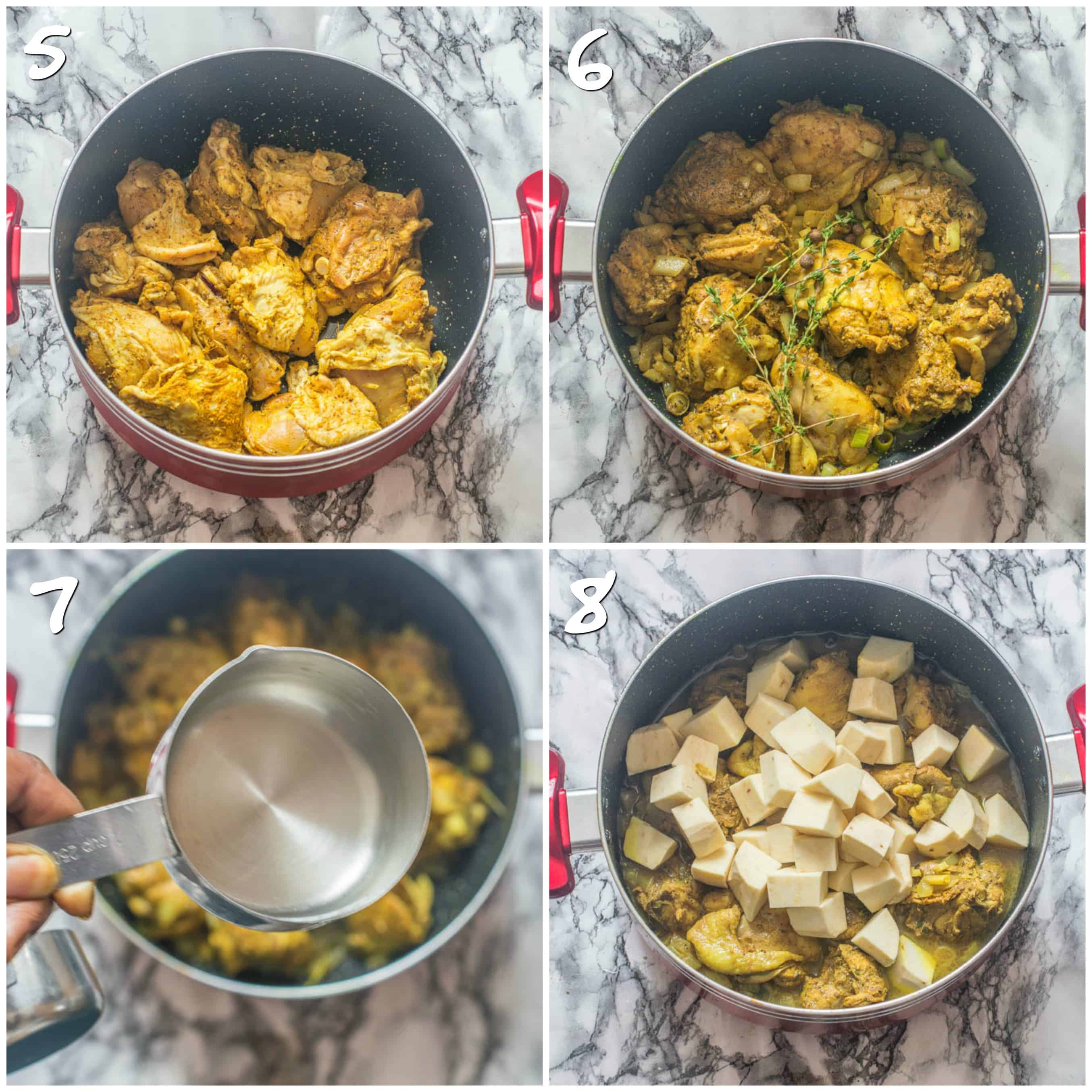 seasoned chicken in red pot, fresh thyme and chicken in pot, pouring water in pot, chicken thighs and potatoes in pot
