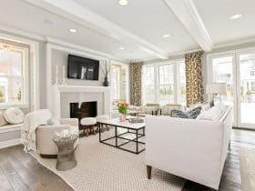 modern living room with benjamin moore stonington gray HC-170 wall paint