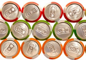 color aluminum drink cans piled
