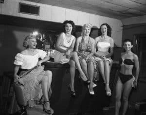 """Exotic Dancers LEague members on """"strike"""", July 23, 1955"""