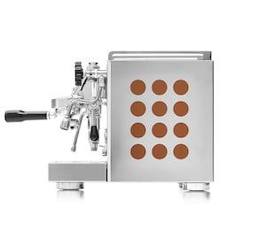Rocket Appartamento espresso machine with copper side cutouts