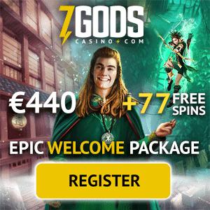 7 Gods Casino - $440 bonus and 77 free spins - win big jackpots!
