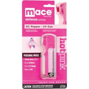 Mace® Personal Model Hot Pink 10% Pepper Spray Belt Clip Side View In Package
