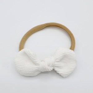 Haarband witte corduroy strik