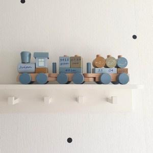Little Dutch houten trein met geboortegegevens blauw