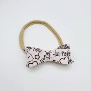 Haarbandje met PU leren Sinterklaas strik hulppietje