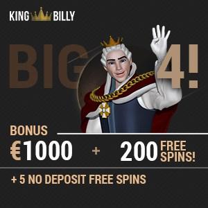 King Billy Casino 200 free spins and €1000 bonus - Bitcoin friendly!