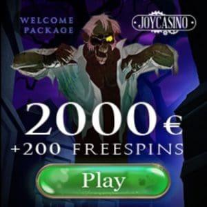 Joy Casino 2000 EUR bonus & 200 gratis spins - exclusive promotion