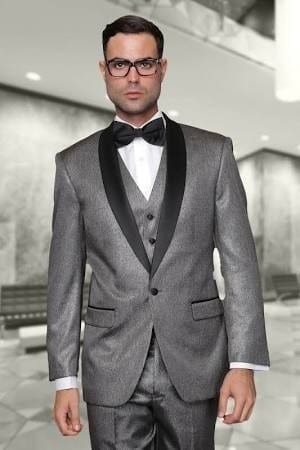 Red with Black Lapel Slim Fit Shawl Tuxedo Prom- Weddings