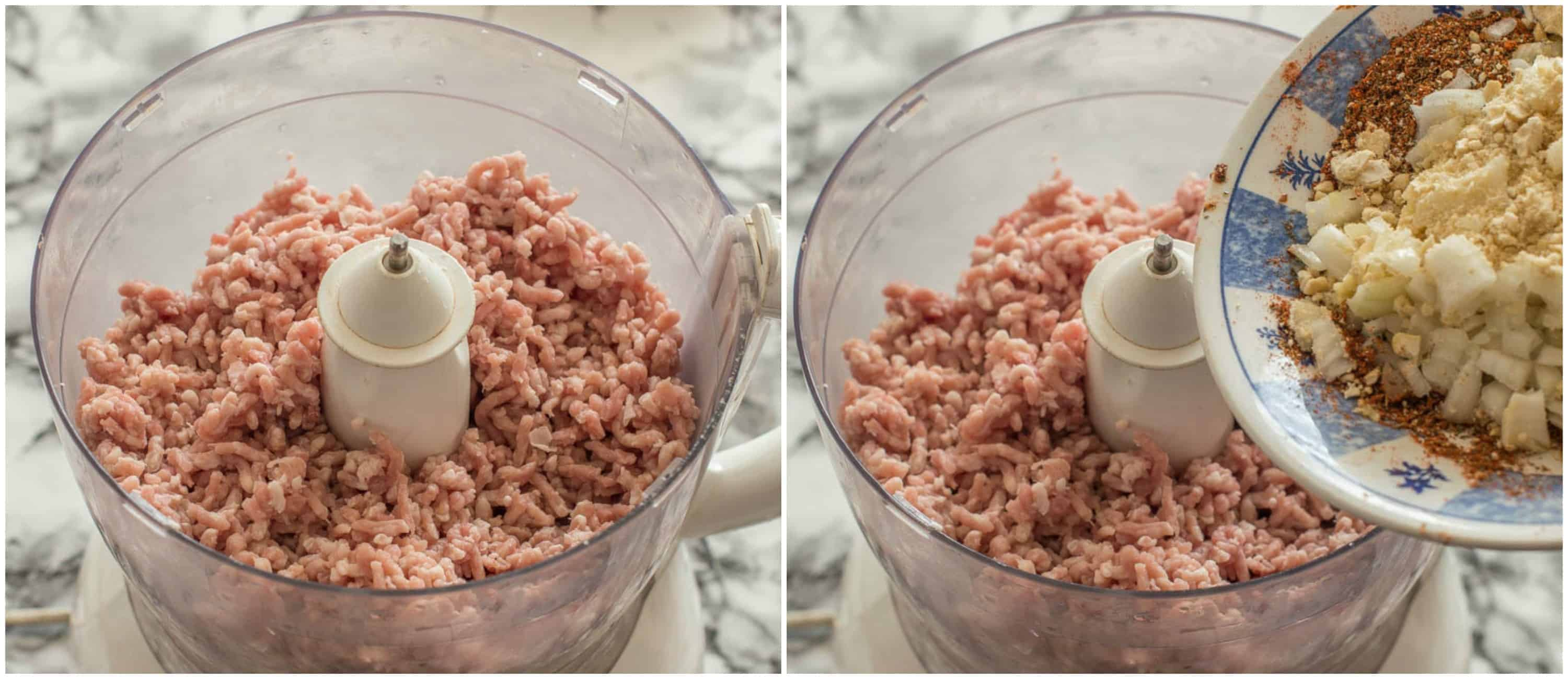 adding the ground mince to the food processor