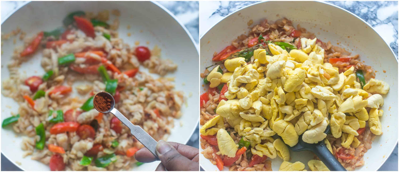 vegetables in skillet, adding ackee to skillet