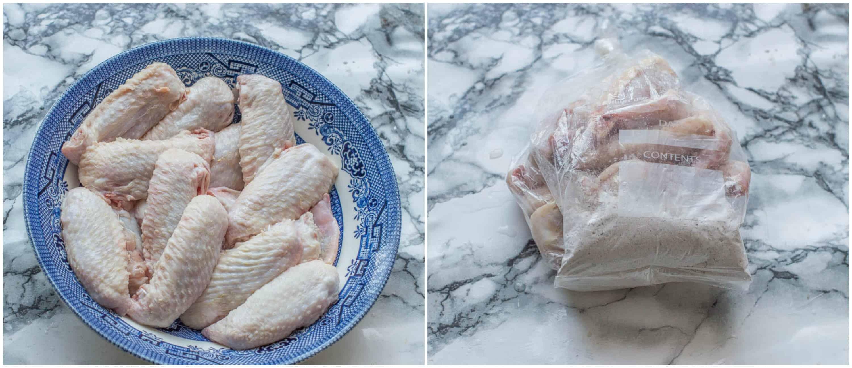 air fryer chicken wings steps 3-4 chicken in coating